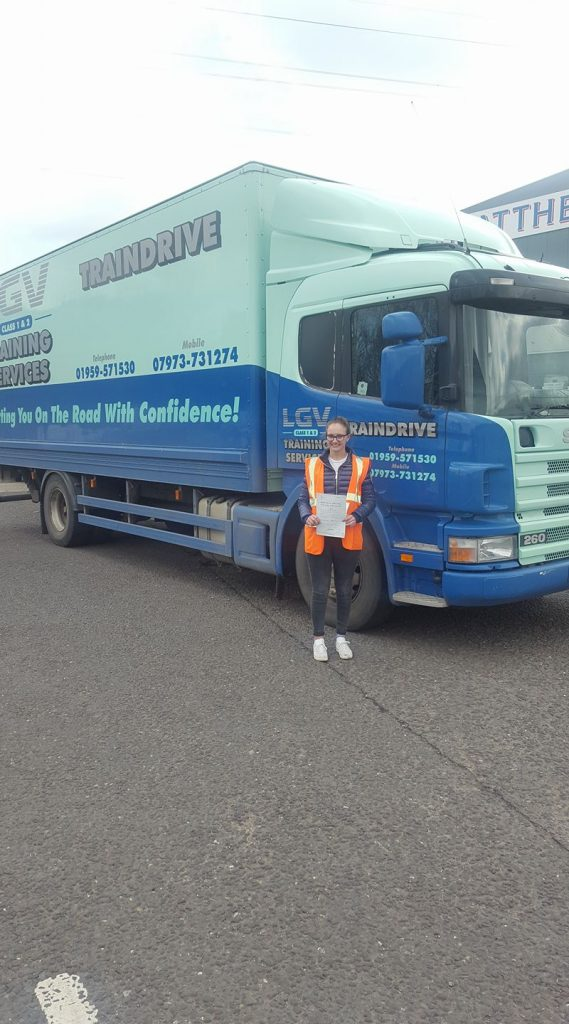ruby passes first time at Cat C to drive a horsebox